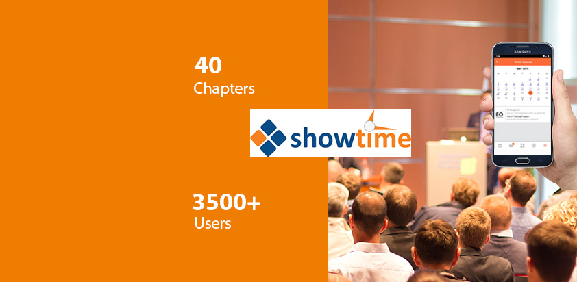 Showtime Event App for India's leading Association with 40 Chapters and 3500 + Users